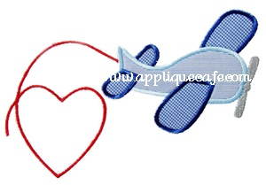 Valentine Airplane Applique Design