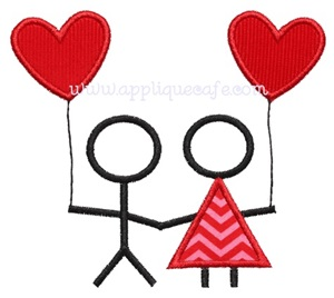 Valentine Couple Applique Design