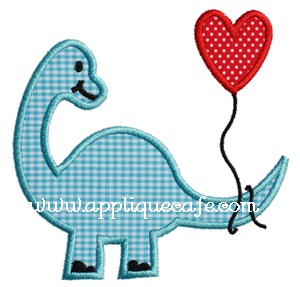 Valentine Dinosaur Applique Design