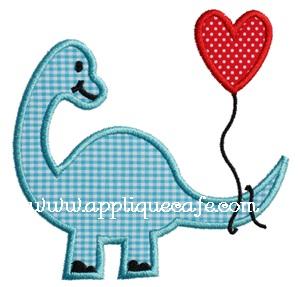 Valentine Dinosaur Applique Design