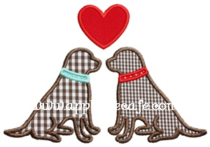 Valentine Dogs Applique Design