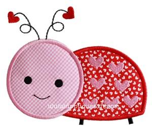 Valentine Ladybug Applique Design