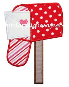 Valentine Mailbox Applique Design