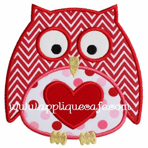 Valentine Owl 2 Applique Design