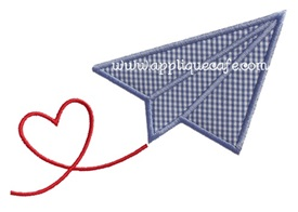 Valentine Paper Airplane Applique Design