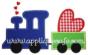 Valentine Train Applique Design