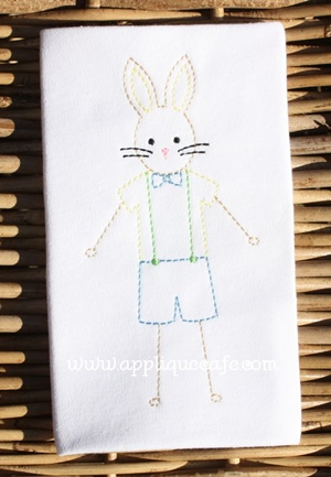 Vintage Boy Bunny Embroidery Design