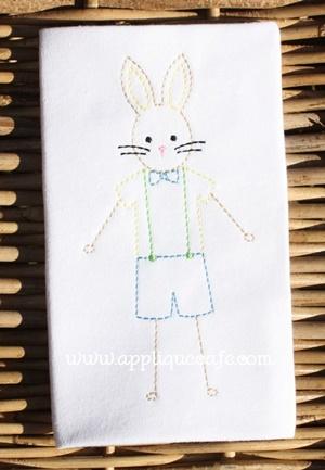 Vintage Boy Bunny Embroidery Design