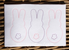 Vintage Bunny Trio Embroidery Design