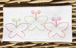 Vintage Butterfly Trio Embroidery Design