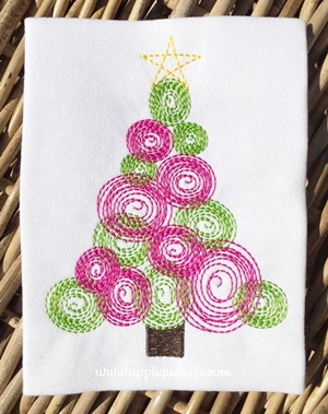 Vintage Christmas Tree 3 Embroidery Design