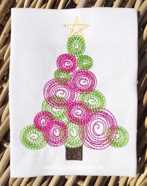 Vintage Christmas Tree 3 Embroidery Design