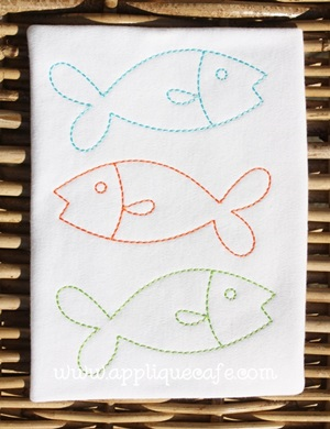 Vintage Fish Trio Embroidery Design
