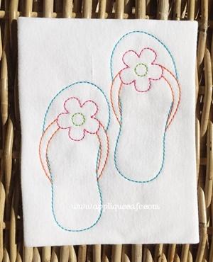 Vintage Flip Flops Embroidery Design