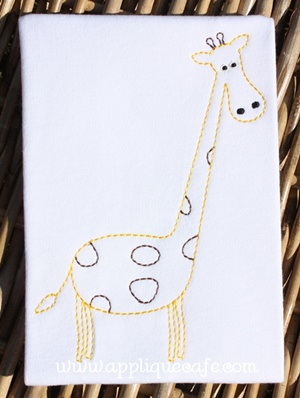 Vintage Giraffe Embroidery Design