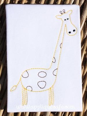 Vintage Giraffe Embroidery Design