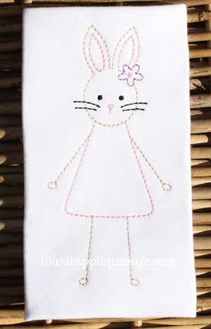 Vintage Girl Easter Bunny Embroidery Design