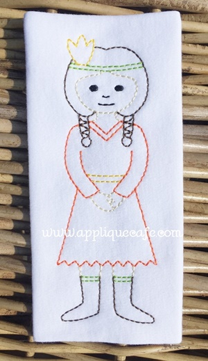 Vintage Indian Girl Embroidery Design