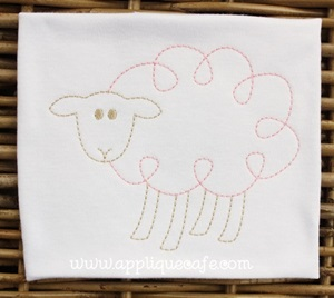Vintage Loopy Sheep Embroidery Design