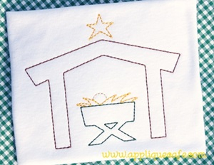 #890 Vintage Manger Embroidery Design