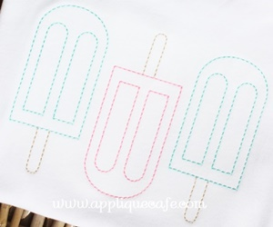 Vintage Popsicle Trio Embroidery Design