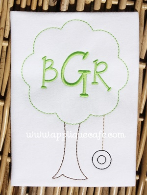 Vintage Tree Swing Embroidery Design