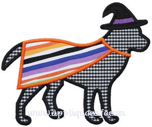 Witch Dog Applique Design