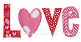 Zig Zag Love Applique Design