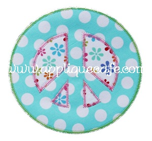 Zig Zag Peace Sign Applique Design