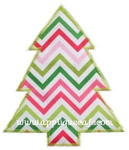 Zig Zag Simple Christmas Tree Applique Design